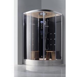 Athena 2-Person Luxury Walk-In Corner Steam Shower Enclosure Kit in Black by Athena
