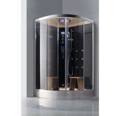 2-Person Luxury Walk-In Corner Steam Shower Enclosure Kit in Black