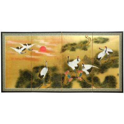 "36 in. x 72 in. ""Gold Leaf Sunset Cranes"" Wall Art"