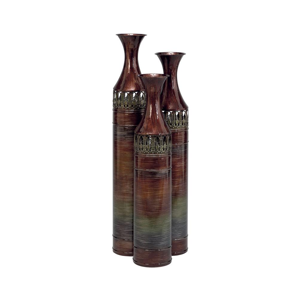 Multi-Colored Iron Decorative Floor Vases (Set of 3)