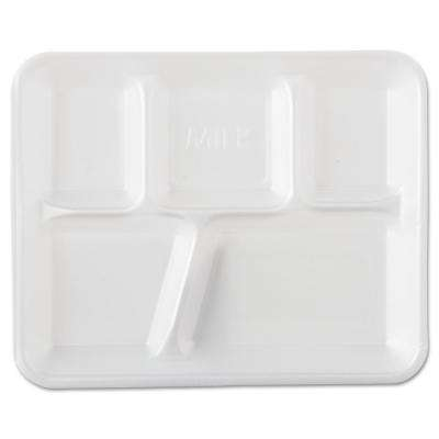 School Tray Foam Serving Trays, 5-Compartment in White