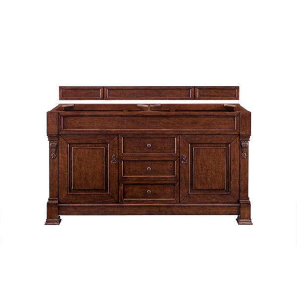 Brookfield 60 in. Double Vanity in Warm Cherry with Granite Vanity Top in Santa Cecilia with White Basin
