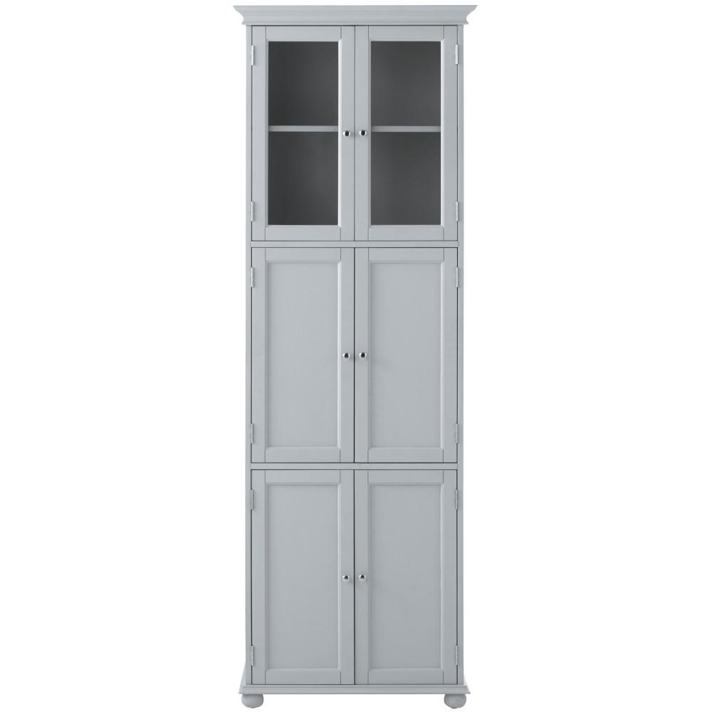 Hampton Harbor 25 in. W x 14 in. D x 72 in. H Linen Storage Tower Cabinet with 6 Doors in Dove Grey