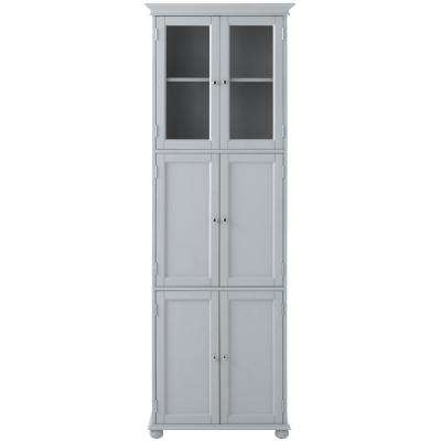 Hampton Harbor 25 in. W x 14 in. D x 72 in. H Linen Storage Tower Cabinet with 6 Doors in Dove Grey