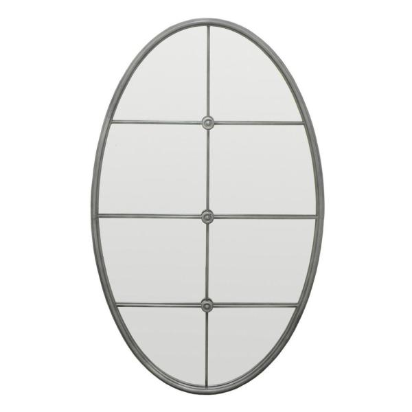 Three Hands Oval Decorative Wall Mirror With Mullion Detail