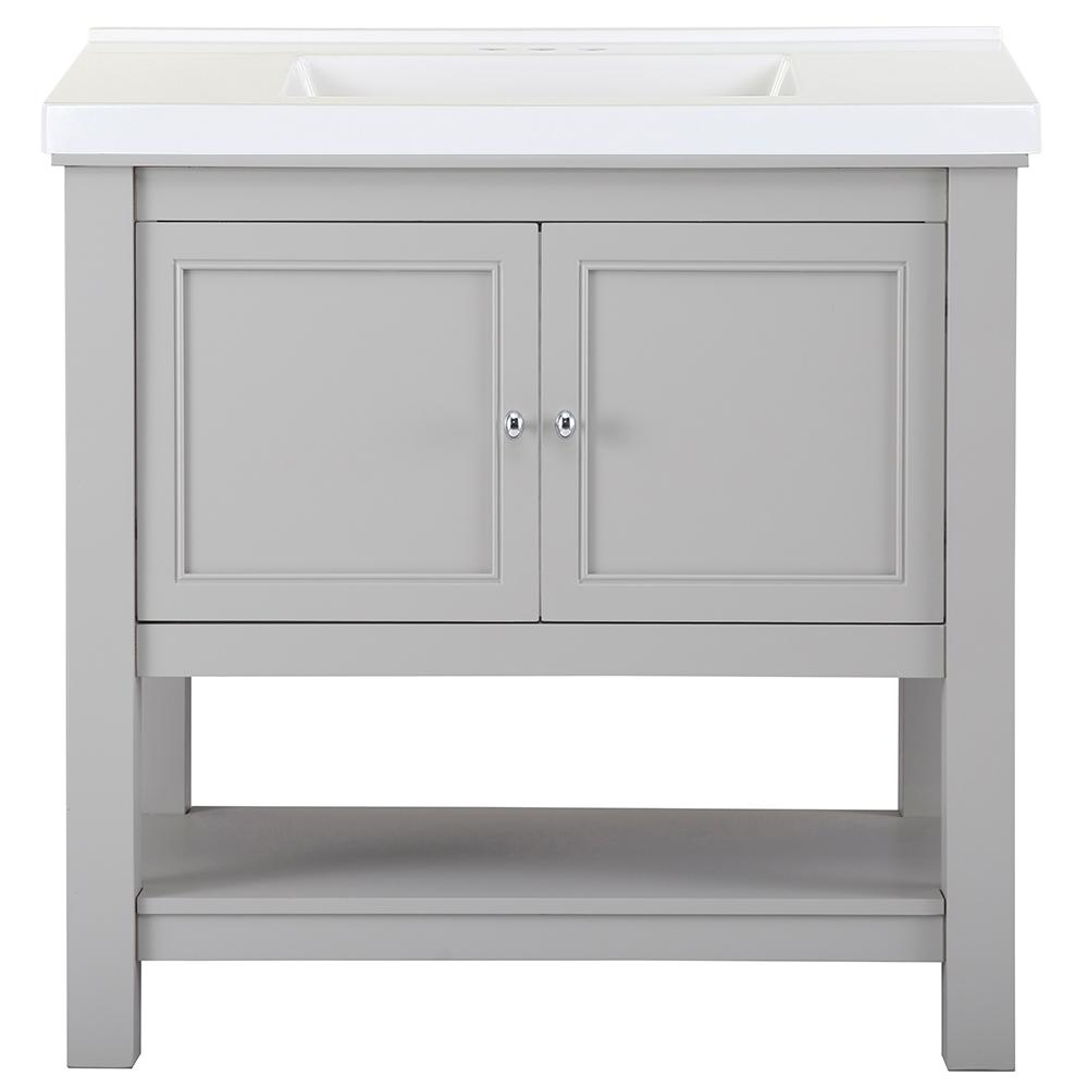 Home Decorators Collection Gazette 37 in. W x 22 in. D Bath Vanity in Grey with Cultured Marble Vanity Top in White with White Sink was $849.0 now $509.4 (40.0% off)
