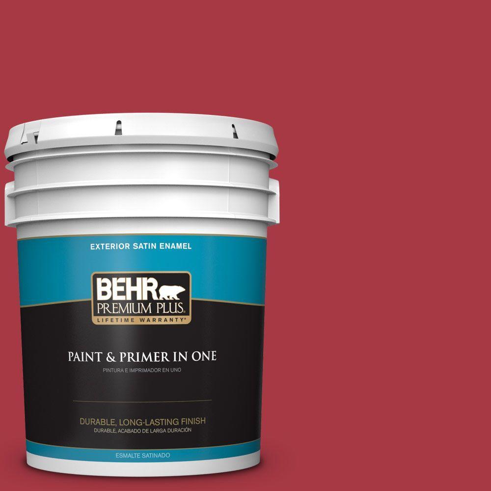 BEHR Premium Plus 5-gal. #BXC-03 Scarlet Satin Enamel Exterior Paint