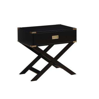 Goodyear Side Table with Gold Corner Accent, X-Shaped legs and Felt Lined Drawer - Black