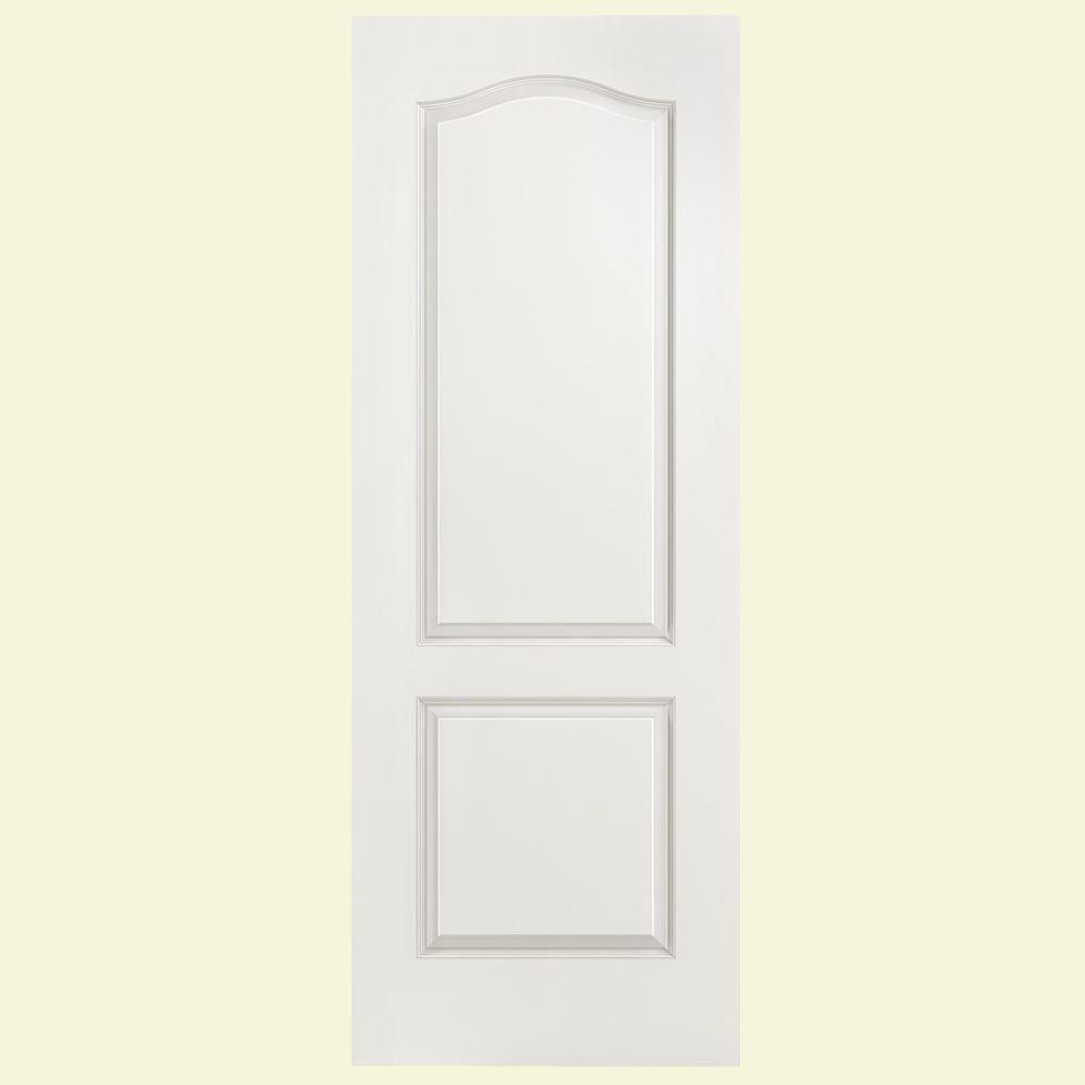 Masonite 28 in x 80 in smooth 2 panel arch top hollow for Www masonite com interior doors