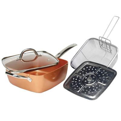 9.5 in. Copper Ceramic Nonstick Frying Pan in Copper with Glass Lid