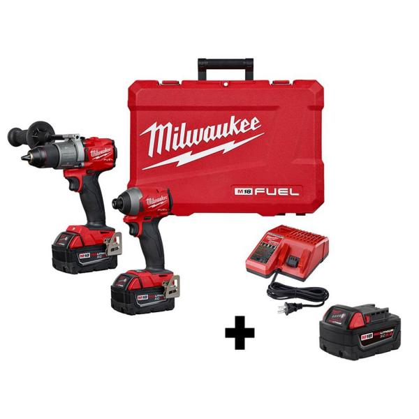 M18 FUEL 18-Volt Lithium-Ion Brushless Cordless Hammer Drill and Impact Driver Combo Kit (2-Tool) W/ Free 5.0Ah Battery