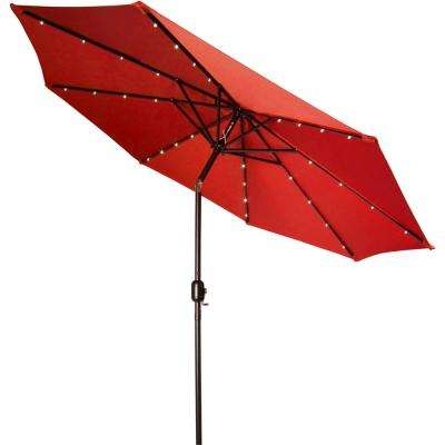 9 ft. Deluxe Solar Powered LED Lighted Patio Umbrella in Red