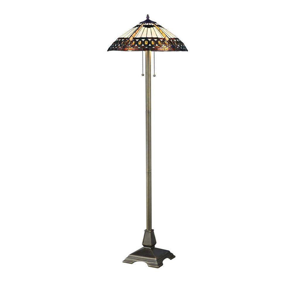 Serena D'italia Tiffany Amberjack 60 in. Bronze Floor Lamp