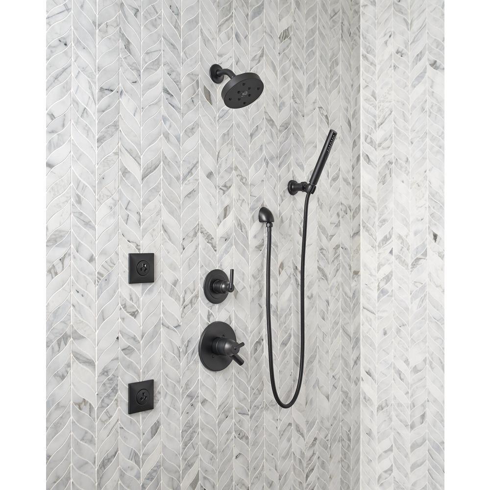 Grail 1-Spray 2 in. Single Wall Mount Handheld Shower Head in Matte Black