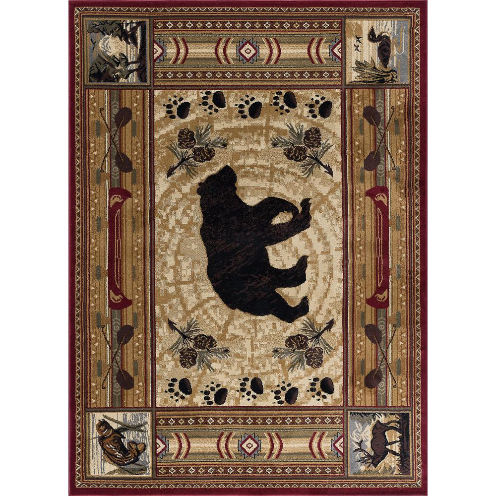 Tayse Rugs Nature Red 8 Ft X 10 Ft Lodge Area Rug 6550