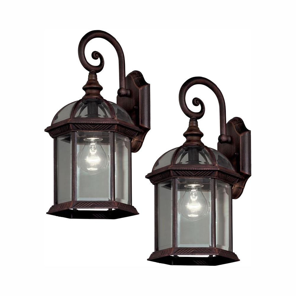Hampton Bay Twin Pack 1-Light Weathered Bronze Outdoor Wall Lantern Sconce