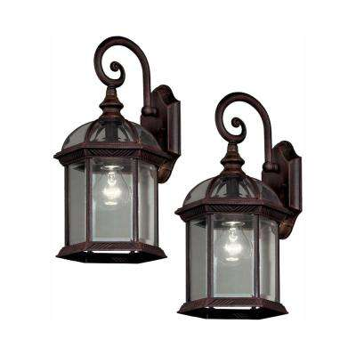 Twin Pack 1 Light Weathered Bronze Outdoor Wall Lantern Sconce
