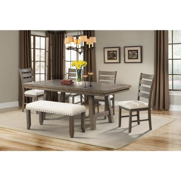 Dex Dining 7-Piece Set-Table 4 Ladder Side Chairs and Bench DJX150B6PC