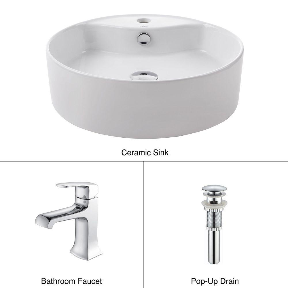 KRAUS White Round Ceramic Sink and Decorum Basin Faucet in Chrome