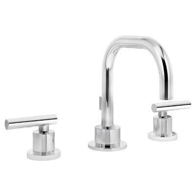 Dia 8 in. Widespread 2-Handle Bathroom Faucet with Pop-Up Drain Assembly in Chrome
