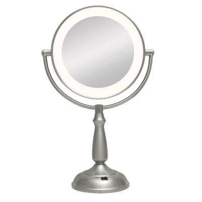 Ultra Bright LED Lighted 10X/1X Round Vanity Mirror in Satin Nickel