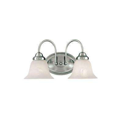 2-Light Satin Nickel Vanity Light with Faux Alabaster Glass