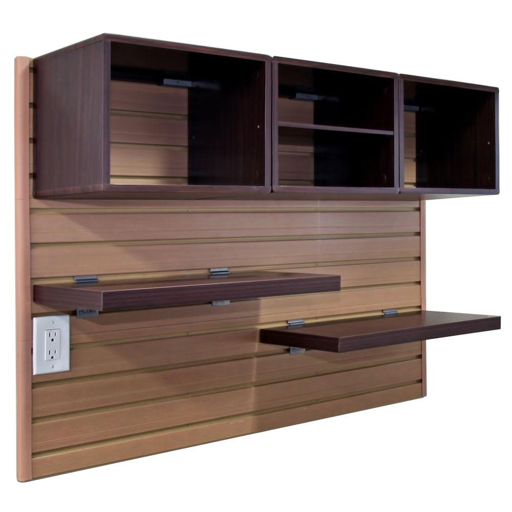 Flow Wall Decor Cube and Shelves Starter Kit with Panels in Maple/Espresso (8-Pieces)