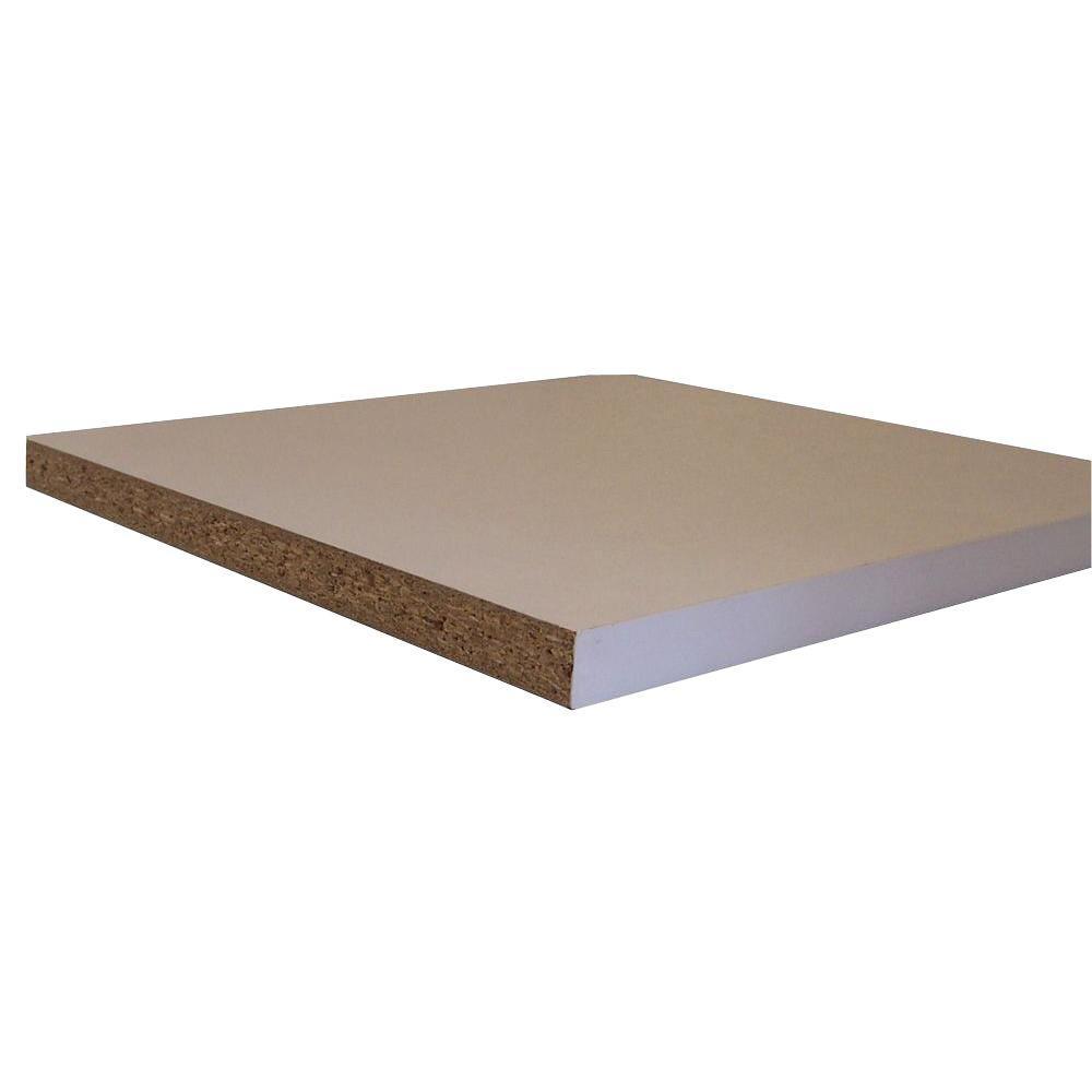 null Shelving White Melamine Board (Common: 3/4 in. x 11-3/4 in. x 8 ft.; Actual: 0.75 in. x 11.75 in. x 97 in.)