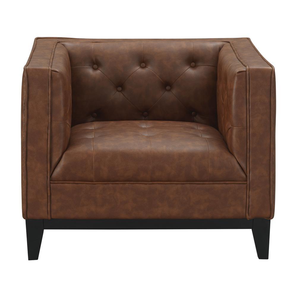 Manhattan Comfort Cadman Camal 1 Seat PU Leather Armchair