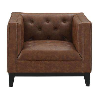 Cadman Camal 1-Seat PU Leather Armchair