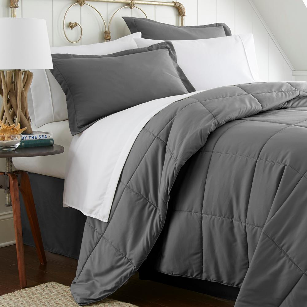 Becky Cameron Bed In A Bag Performance Gray Queen 8 Piece Bedding Set Ieh Mult Q Gr The Home Depot