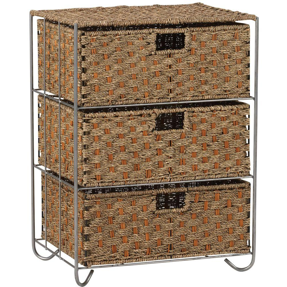 Fabulous Household Essentials Seagrass/Rattan 3 Drawer Unit Overall-ML-5715  EG98