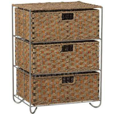 Seagrass/Rattan 3 Drawer Unit Overall