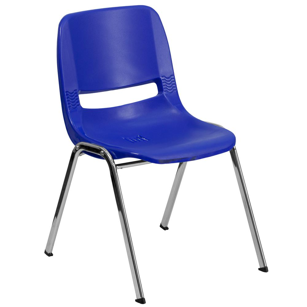 Carnegy Avenue Navy Ergonomic Shell Stack Chair with Chrome Frame and 18 in. Seat Height