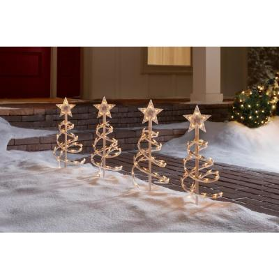 18 in. Clear Spiral Tree Pathway Lights (Set of 4)