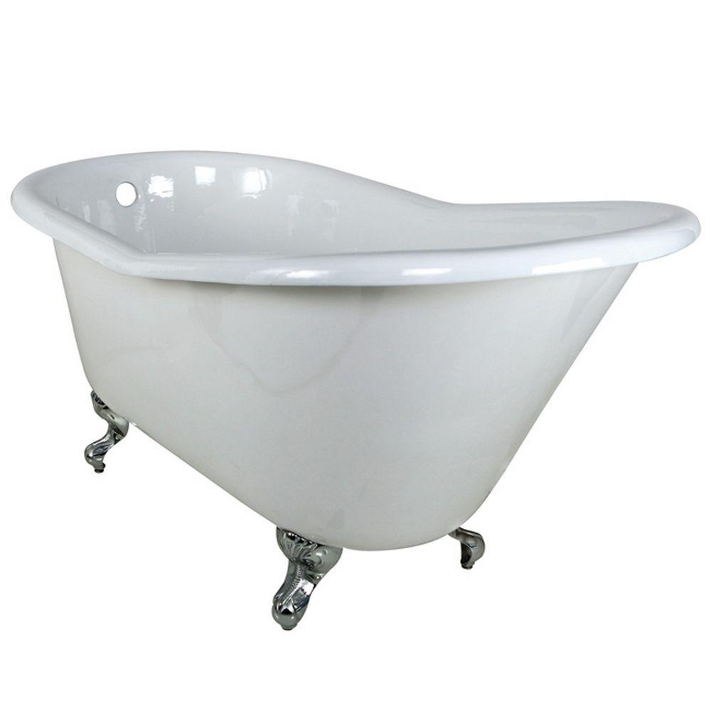 5 ft. Cast Iron Polished Chrome Claw Foot Slipper Tub in