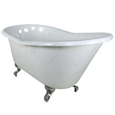 5 ft. Cast Iron Polished Chrome Claw Foot Slipper Tub in White