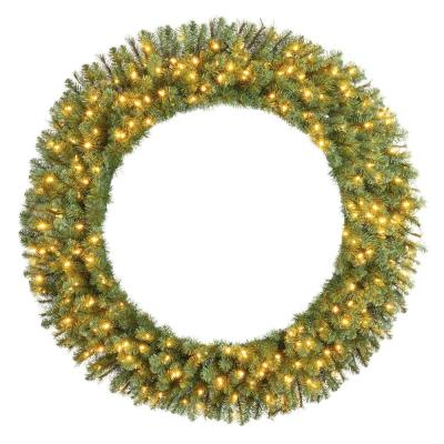 60 in. Wesley Pre-Lit Long Needle Pine Artificial Christmas Wreath with 498-mixed tips and 240 Warm White Lights