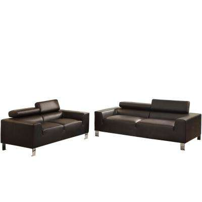 Bari 2-Piece Espresso Leatherette Sofa Set