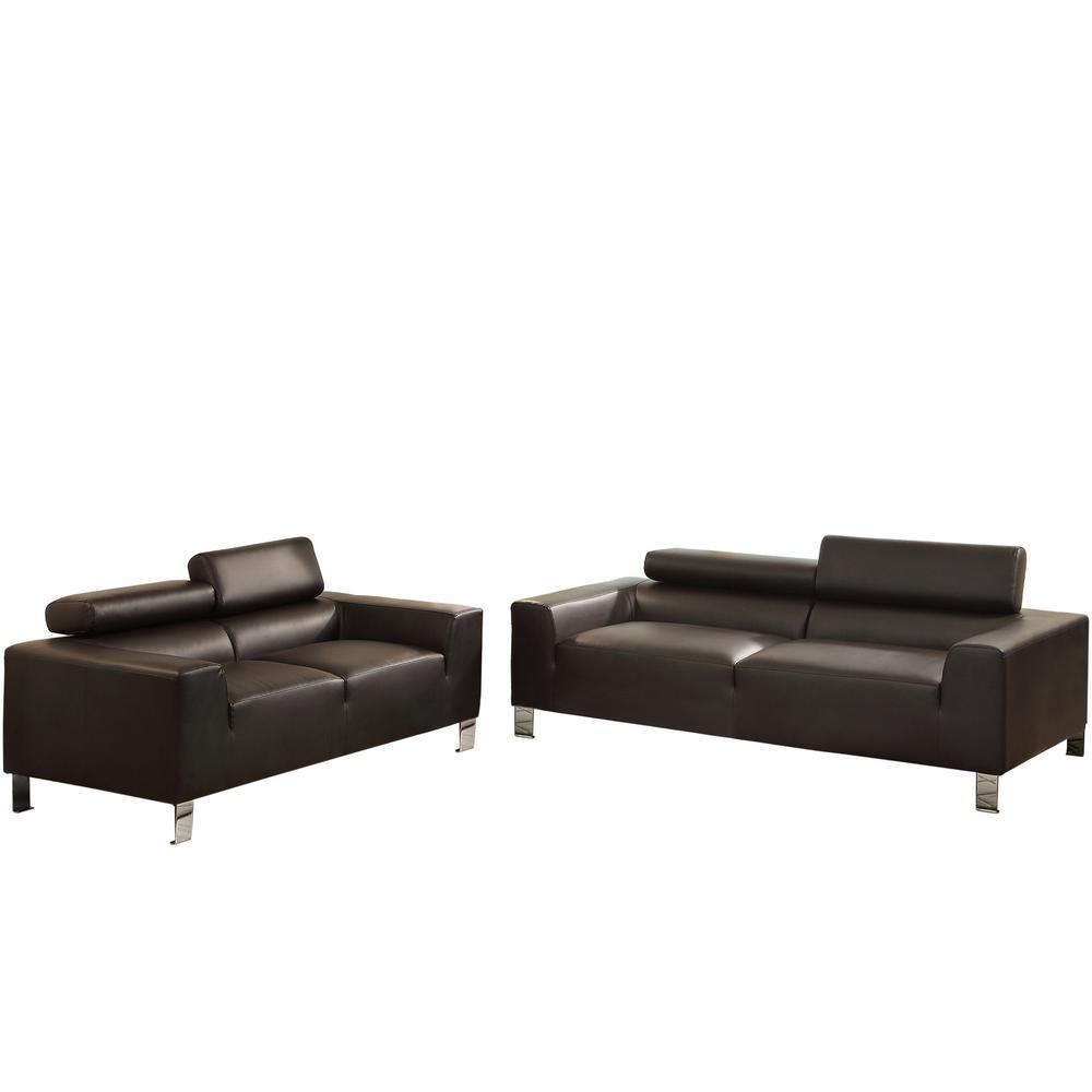 Venetian Worldwide Bari 2-Piece Espresso Leatherette Sofa Set
