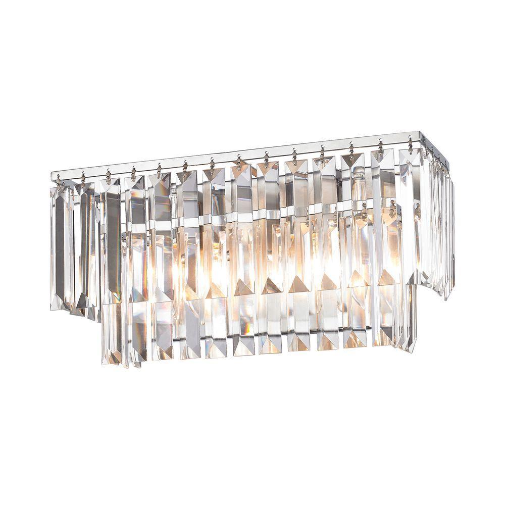 Palacial 2-Light Polished Chrome Vanity Light