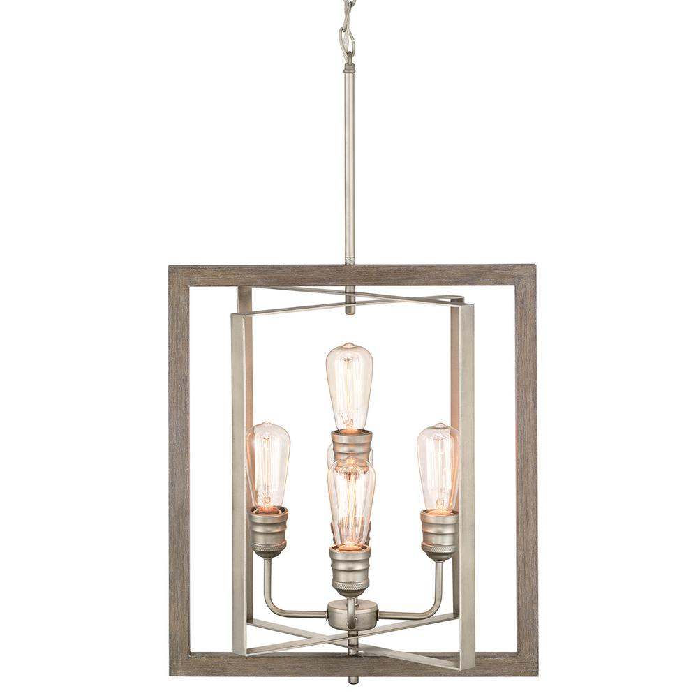 Home Decorators Collection Palermo Grove 5-Light Antique Nickel Pendant with Painted Weathered Gray Wood Accents
