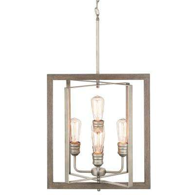 Palermo Grove 5-Light Antique Nickel Pendant with Painted Weathered Gray Wood Accents