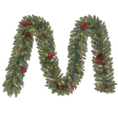 12 ft. Pre-Lit Artificial Winslow Fir Christmas Garland with 280 tips and 100 Clear Lights