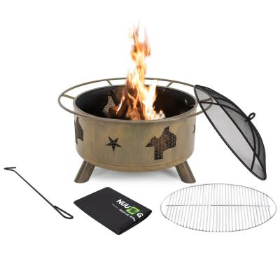 30 in. Steel Round Fire Pit with Poker/Cover/Cooking Grate in Camping Brown
