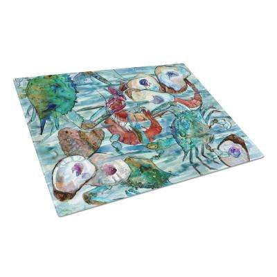 Watery Shrimp, Crabs and Oysters Tempered Glass Large Heat Resistant Cutting Board