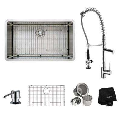 All-in-One Undermount Stainless Steel 32 in. Single Basin Kitchen Sink with Faucet and Accessories in Chrome