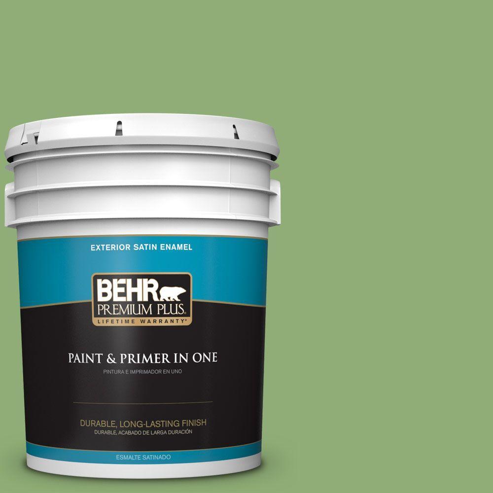 BEHR Premium Plus 5-gal. #430D-5 Geranium Leaf Satin Enamel Exterior Paint