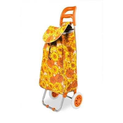 Non-Woven 2-Wheeled Floral Printed Rolling Shopping Cart in Orange