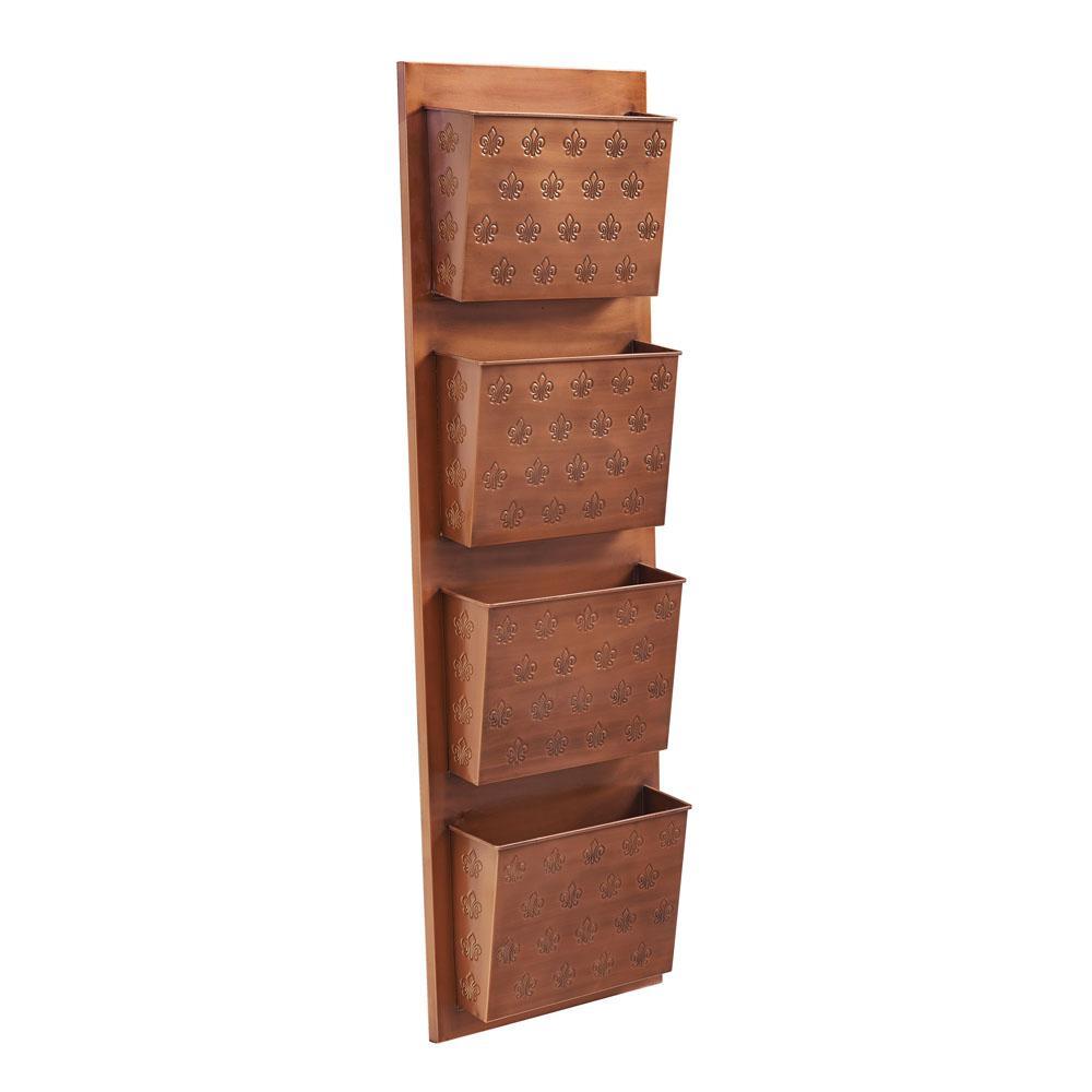 4-Slot Metal Copper Fleur-de-lis Wall Mailbox